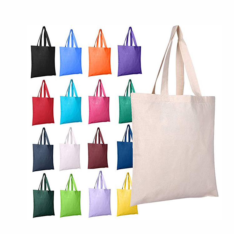 Reusable women grocery shopping foldable canvas cotton fabric eco friendly tote bag
