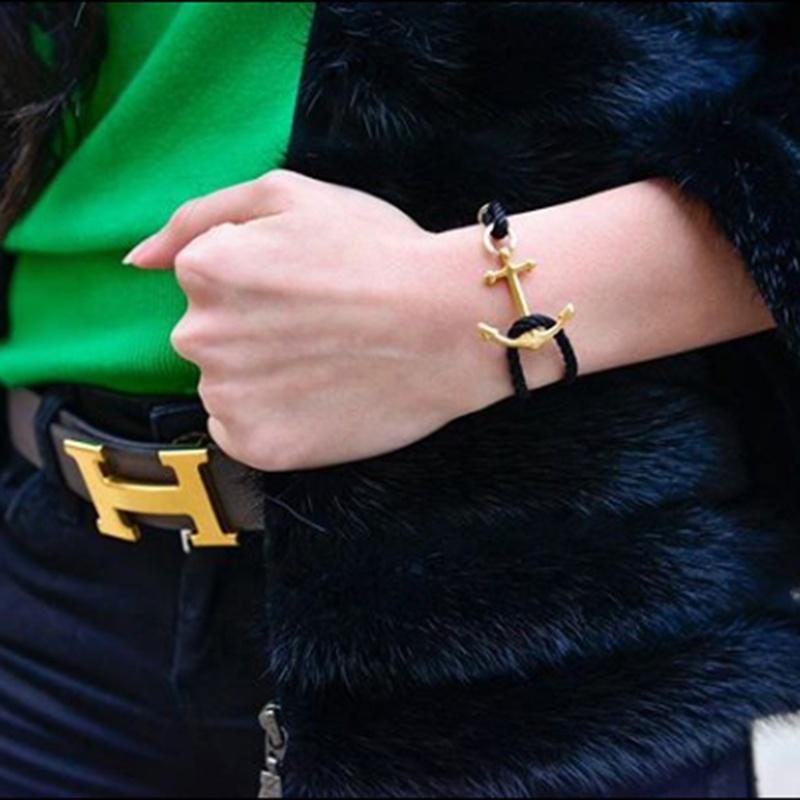 אישית איכות ניילון חבל עם נירוסטה 18K זהב צמיד חקוק לוגו יוניסקס גברים נשים תכשיטים ספק