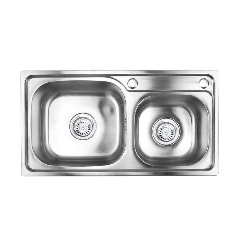 Cheap price china one-piece double bowl kitchen sink