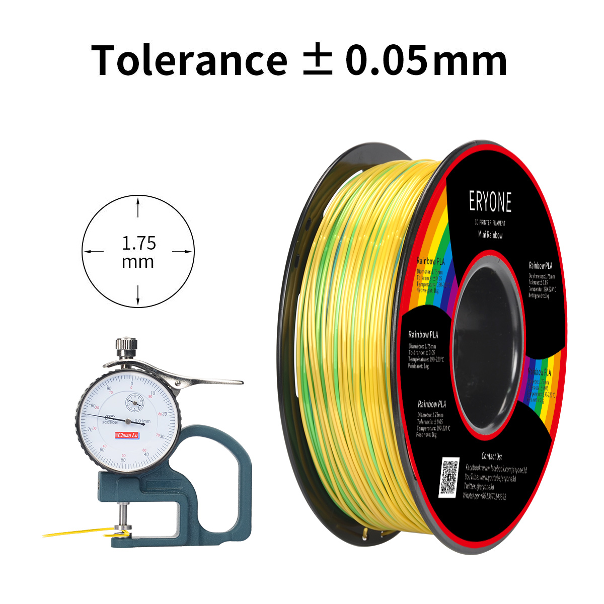 Eryone Silk Mini Rainbow PLA 3D Printer Filament 1.75mm, Dimensional Accuracy +/- 0.05 mm, 1kg (2.2LBS) / Spool
