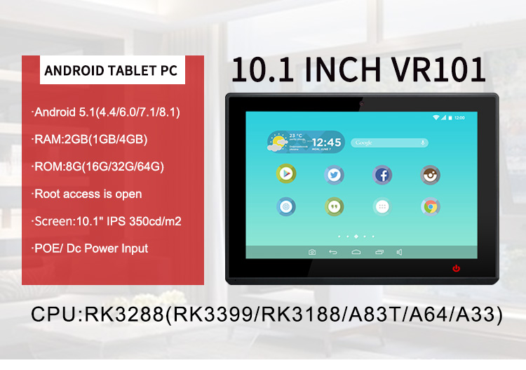 10 inch Android tablet All-In-One pc wall mount tablet met RJ45