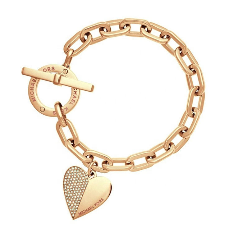 Eropa Gaya Amerika Pesona Perhiasan Emas Gelang Rantai Love Heart Lock Gelang