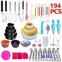 194 PCS Cake turntable set with Round Cake Pans Decorating Supplies Kit Baking Pastry Tools Baking Accessories