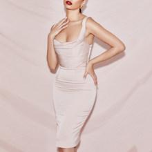 Ailigou, 2020, летнее женское платье, без бретелек, Драпированное платье длиной до колена, сексуальное, облегающее, элегантное, Клубное, вечерние п...(Китай)