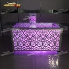 Wedding silver stainless steel frame led light bar buffet table with wheel