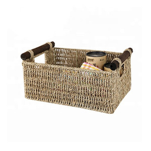 Wholesale handwoven storage sundries books natural seagrass basket with handles