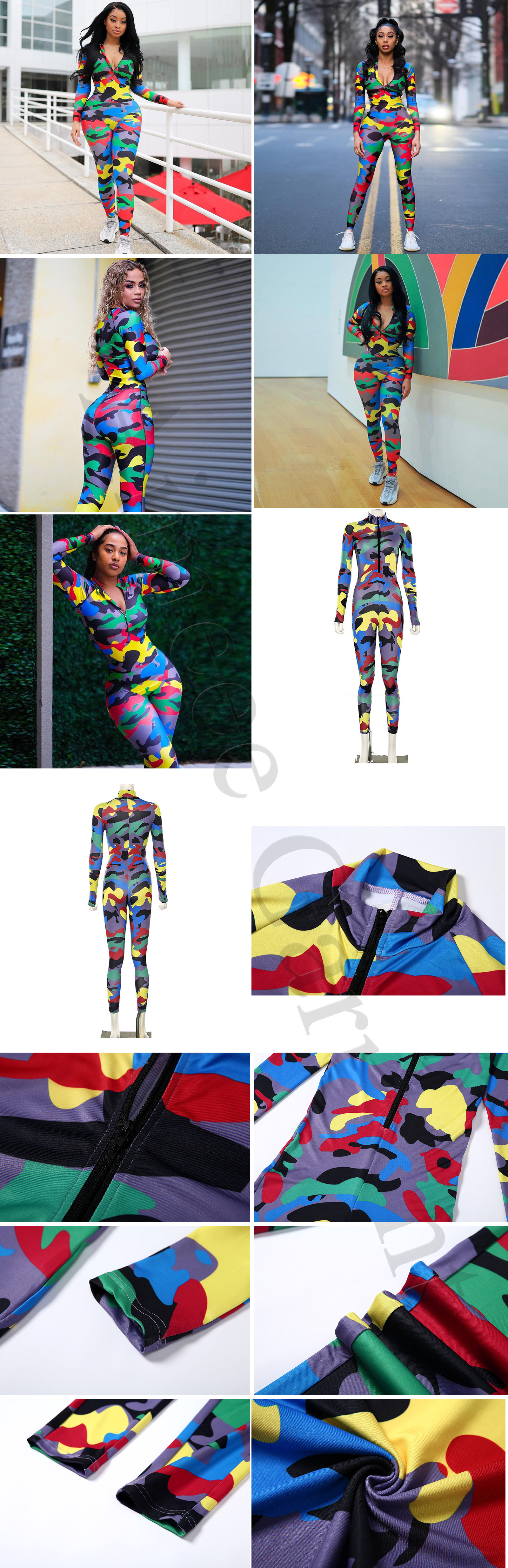 Wholesale Gym Wear Camouflage One Piece Yoga Jumpsuit