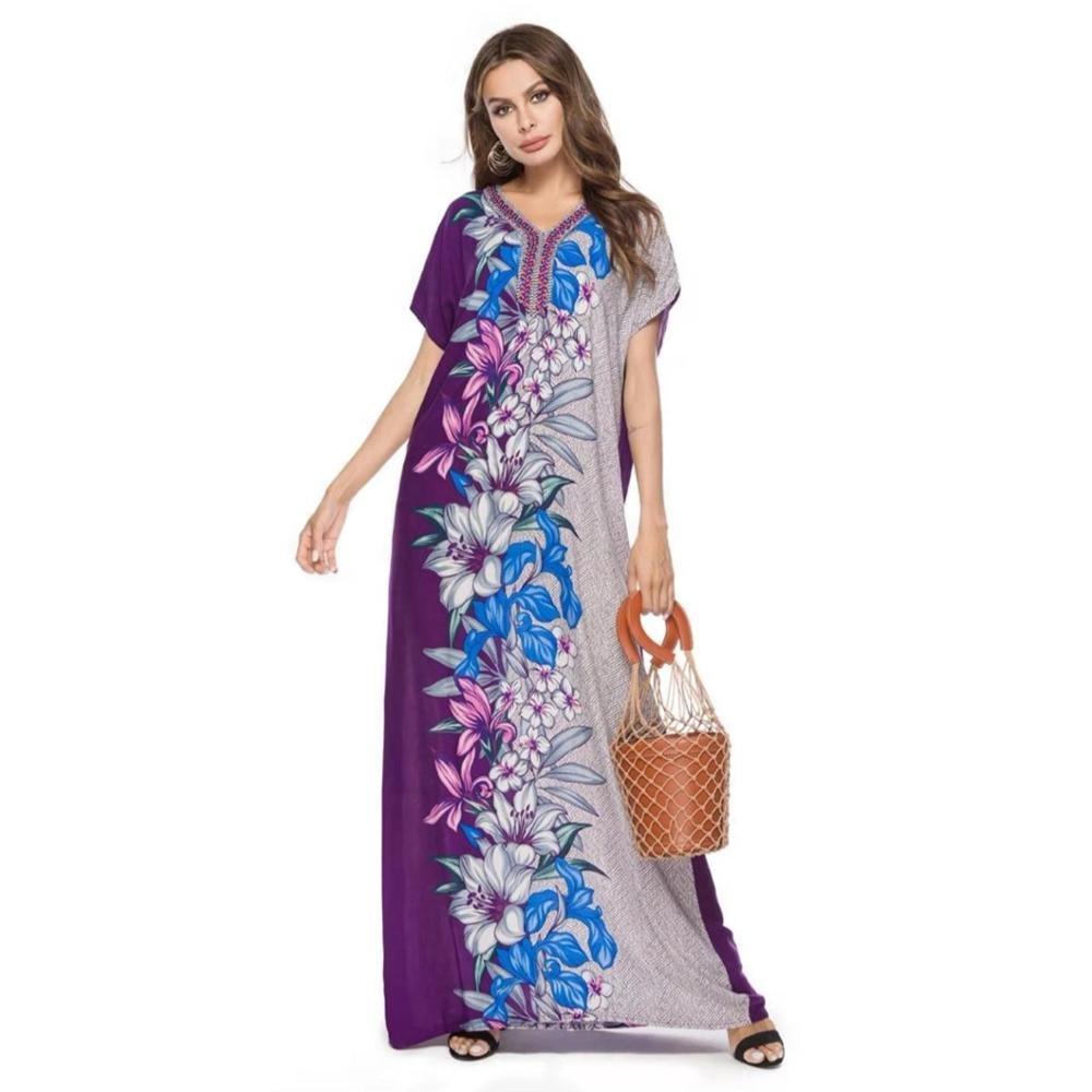 Musulmano Stampato Donne Islamiche Vestito Su Ordine Dubai Marocchino Caftano/Djellaba/Abaya vestiti