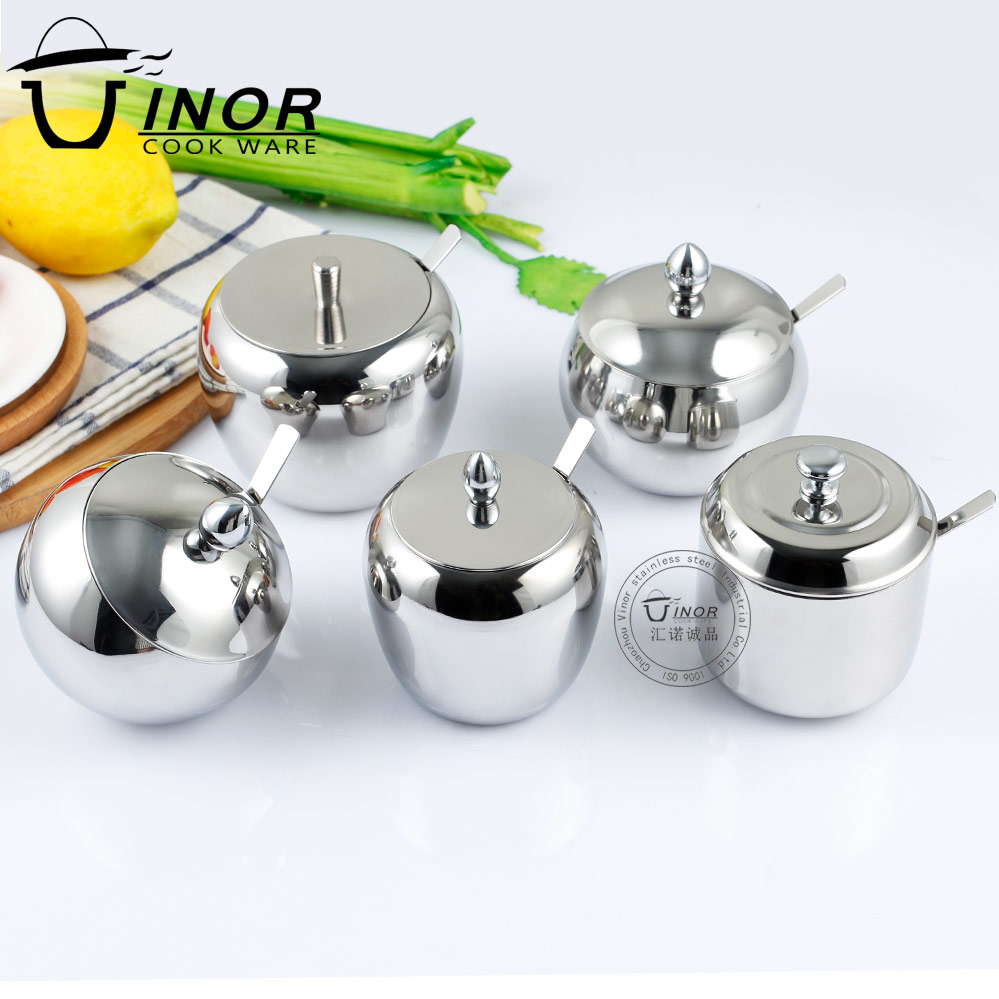 stainless steel 18-8 spice jar rack seasoning tea sugar pot with spoon