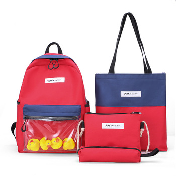4 in 1 Set Chic Casual Canvas Sports Washable School Backpack Business Travel Rucksack Popular School Bag