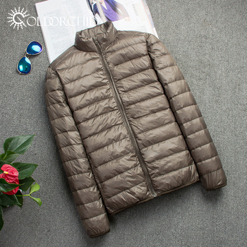 Winter Windproof Puffer Quilted Coat Army Green Light Down Winter Jacket Men Man