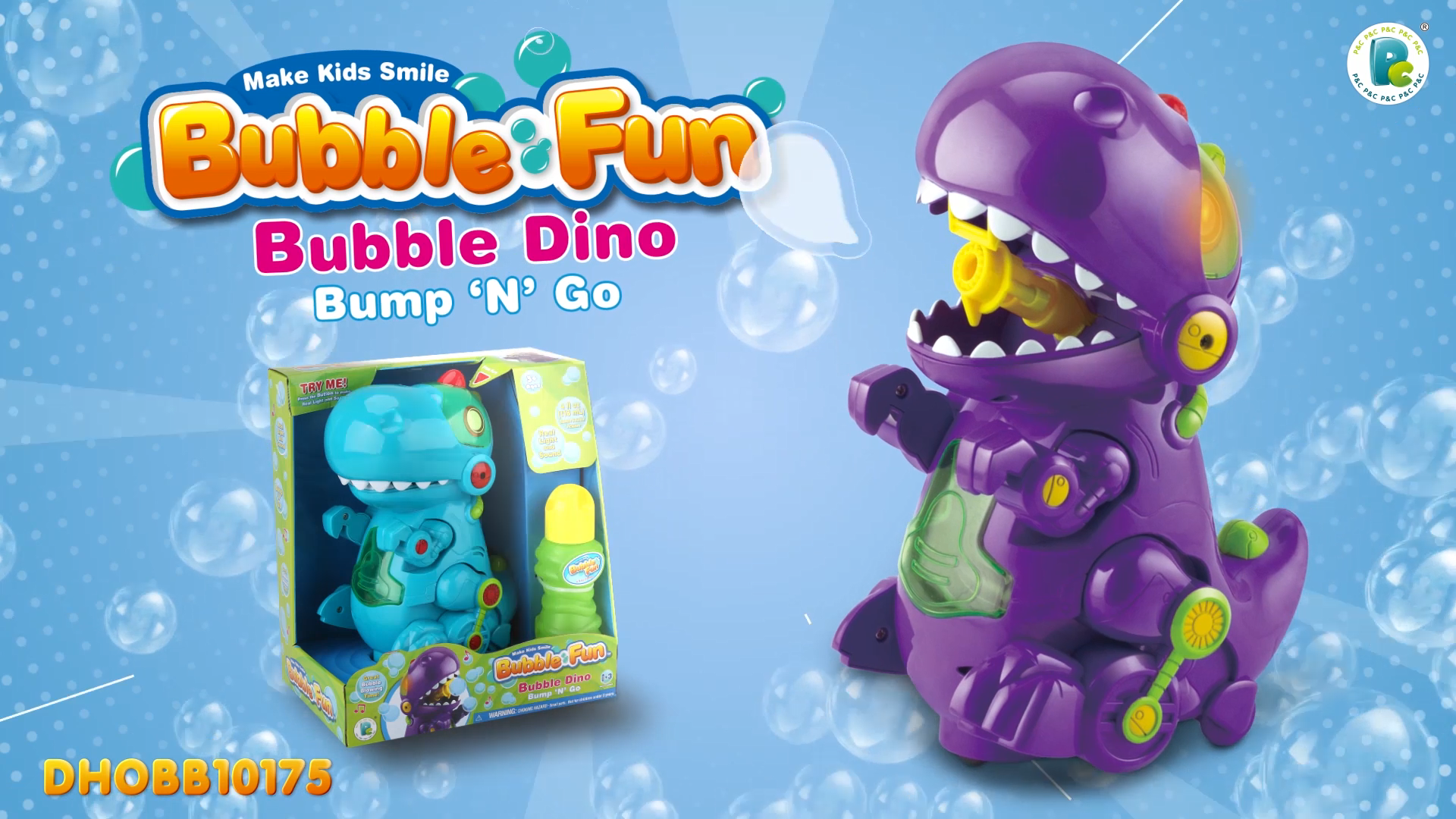 Bubble Fun Bump & Go Bubble Dinosaur Bubble Machine with Action and Light & Sound for Kids,Birthday Family Party