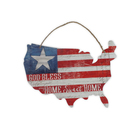 Rustic Wall plaque wood decor USA territorial design with flag pattern