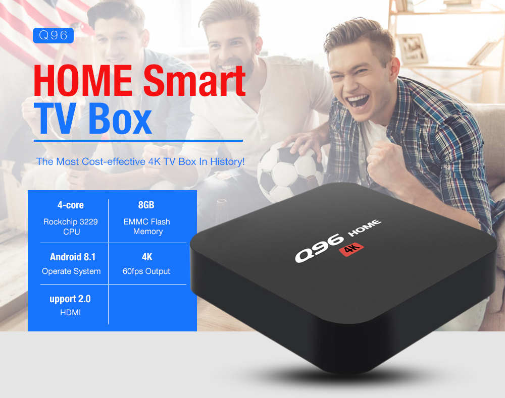 MRSVIQ96 HAUSE Android 8.1 Quad Core UHD Smart TV Box Erweitert Lagerung 32GB Set Top Box 2,4G WiFi H.265 VP9 HDR10 4K Media Player