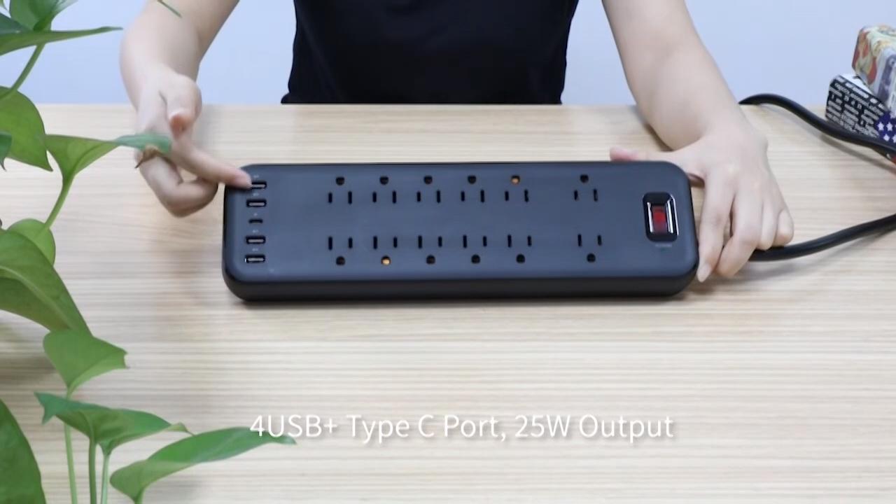 Thiết Kế Mới Ổ Cắm AC Ổ Cắm USB 6 Feet Dây Điện Surge Protector Tiêu Chuẩn Hoa Kỳ Ổ Cắm Mở Rộng Ổ Cắm Điện