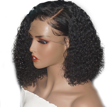 Ainizi factory competitive price high quality natural black 16'' kinky curly synthetic lace front wigs for black women