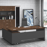 modern big wooden office boss desk tables table with bookshelf