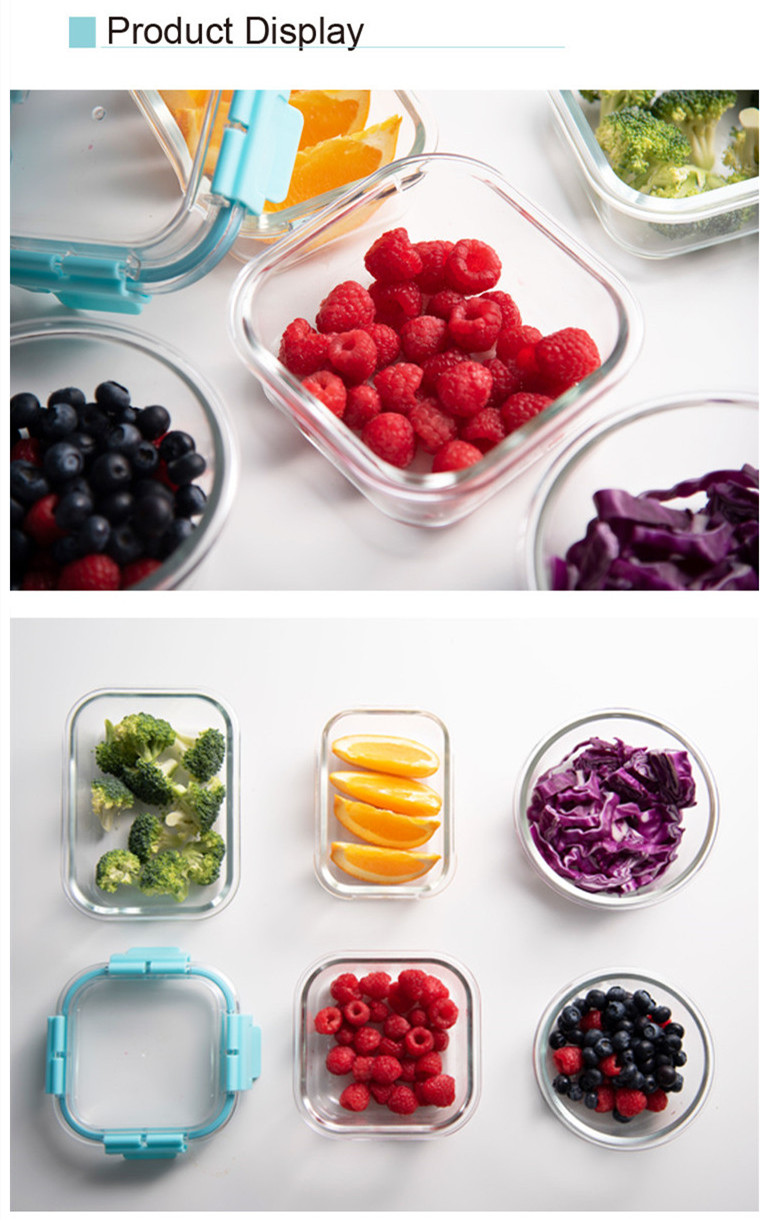 IKOO Fashion design lunchbox glass food storage container fresh box food