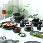 Factory Direct luxury colorful 58 Pcs Ceramic porcelain plates dish Sets Black Golden Line tableware Dinner set