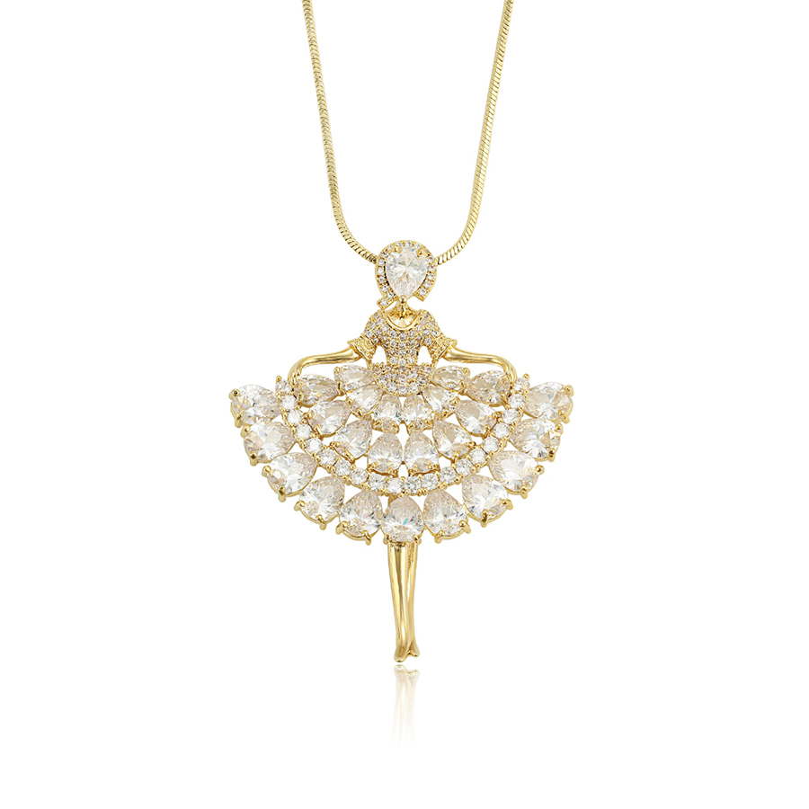 necklace-00728 Xuping luxury women 14k gold jewelry zircons pendant sweater necklace