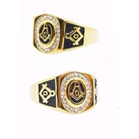 cheap wholesale 316l stainless steel gold masonic champion rings for men women freemason logo signet rings