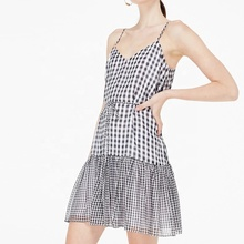 Sleeveless Sommer Design Mini Plaid Print Mini <span class=keywords><strong>Kleid</strong></span> Mit Rüschen