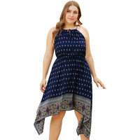plus-size women's new drawstring wrap chest high waist positioning print strap dress