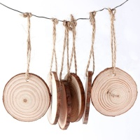 Unfinished Predrilled DIY Wooden Crafts Natural Wood Slices With Tree Bark