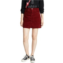 Femmes nouvelle mode bouton bas <span class=keywords><strong>jupe</strong></span> dames vin rouge velours côtelé mini <span class=keywords><strong>jupe</strong></span>