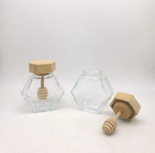 100ml 380ml glas mini pot honing zeshoekige seal ontworpen opslag container <span class=keywords><strong>potten</strong></span> met hout bamboe deksel