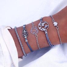 Vienkim набор женских браслетов ручной работы в богемном стиле с длинной кисточкой и сердечком, новинка 2018, серые браслеты на цепочке, ювелирны...(Китай)
