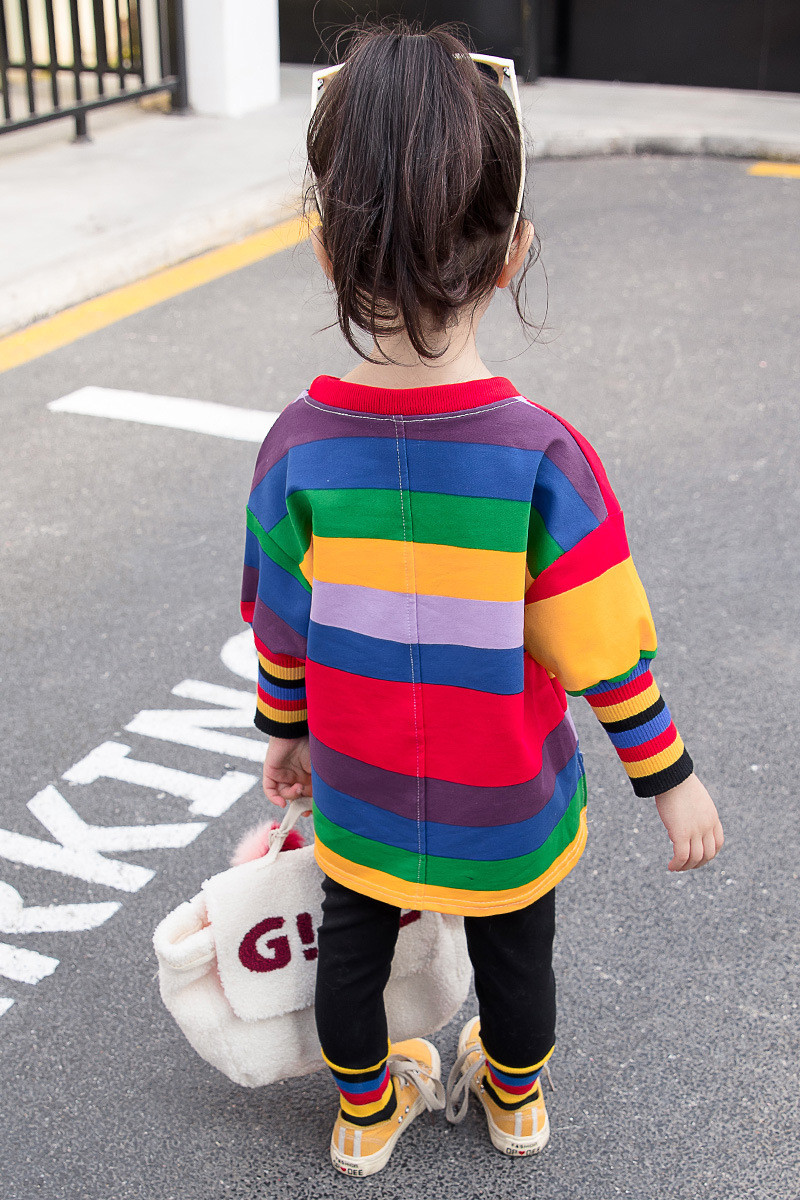 Wholesale girls clothing set rainbown striped long sleeve girls top +pants 2pcs fall children clothes