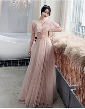 Женское длинное бархатное платье подружки невесты, розовое осеннее кружевное платье с рукавом 3/4, 2019(Китай)