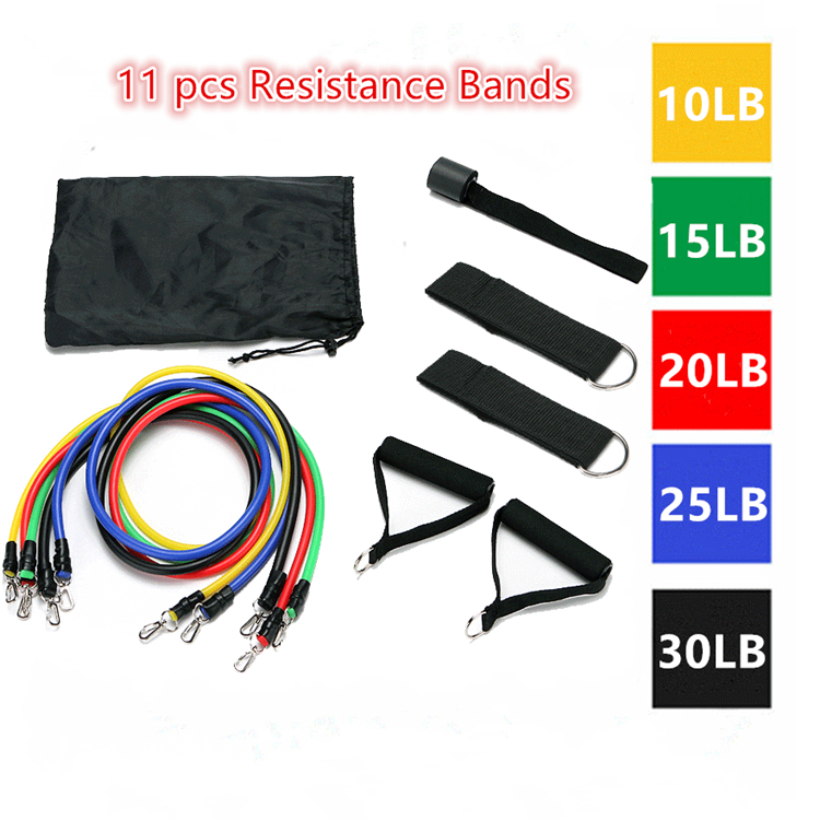 Quick Delivery Factory Direct Fitness Gym Elastic Pull Ropes Set 11 pcs Resistance Bands
