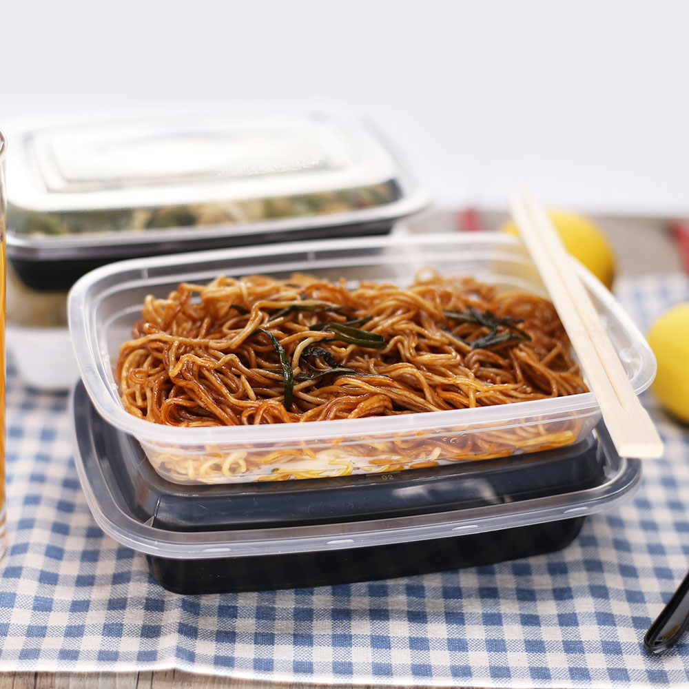 American style rectangular disposable plastic food containers leakproof bento lunch box