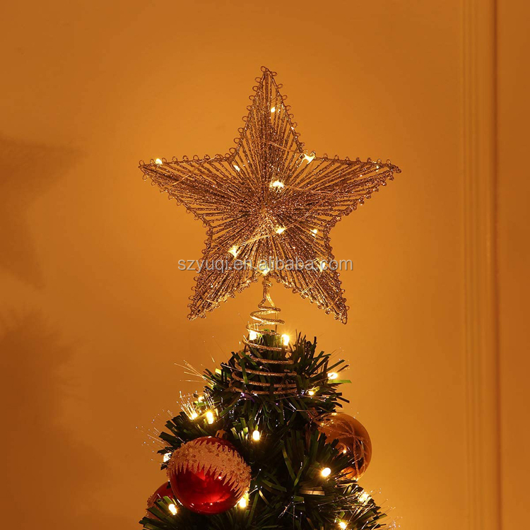 New arrivals 2020 LED Lights Metal Silver Glittered Christmas Star Tree Topper