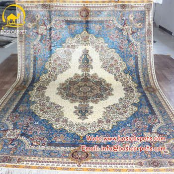 8x11ft Chinese double knots oriental handknotted silk persian area rug carpet