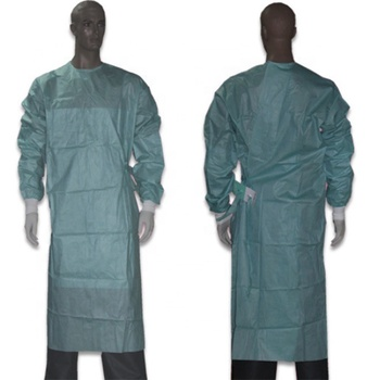 Hospital reinforced SMS disposable operating theatre surgical gown dark green