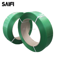 Pallet and film wrapped packing polyester embossed green pet packing strap 16mm