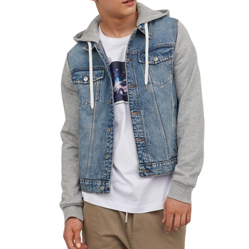 Button up hooded denim jean jacket men denim hoodie jacket with draw cord