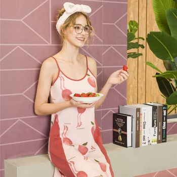 Summer Female Ice Silk Straps Nightdress Shoulder Strap Cute Fruit Print Nightdress For Teenager