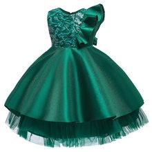 2020 Платья с цветочным узором для девочек на свадьбу; платье для маленьких девочек; Плиссированное детское платье; кружевное платье принцесс...(China)
