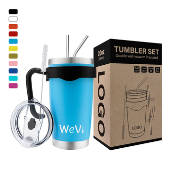 WeVi Wholesale Custom 20oz Stainless Steel Tumbler Cups in Bulk Double Walled Travel Tumbler,Coffee Tumbler Cups With Lid Straw
