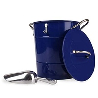 Eco-friendly Hot Sale Blue 4L Metal Double Walled Tin Ice Bucket With Lid And Scoop For Drink Cooling