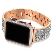 Роскошный Алмазный чехол + ремешок для Apple Watch, 44 мм, 40 мм, 38 мм, 42 мм, чехол iWatch Series 5, 4, 3, 2, 1, браслет из нержавеющей стали для женщин(Китай)