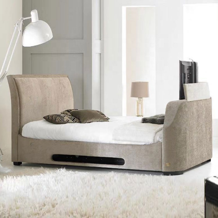 hot selling classic carving modern bed with tv for wholesales smart bed with tv adjustable tv bed
