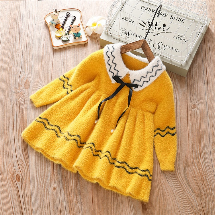 winter dress baby fleece material clothing dress baby girl dress long sleeve