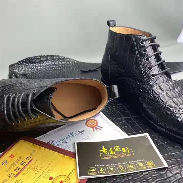 Bottes en cuir pour hommes, chaussures d'hiver, classiques, haut de gamme, en cuir de Crocodile, style Martin