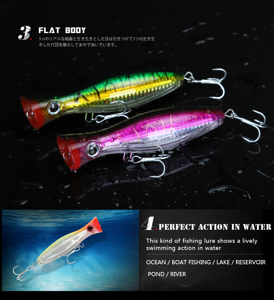 LURESFACTORY 120mm 43g flotante Topwater Popper cebo mar Pike pesca Wobblers sin labios atraer P018