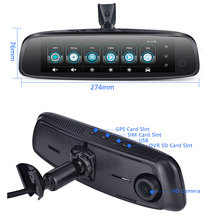 8 นิ้วกระจก 3CH กล้อง 2GB + 32GB Car DVR 4G Android DVR Dash Cam HD 1080P กล้อง GPS WIFI ADAS Registrar